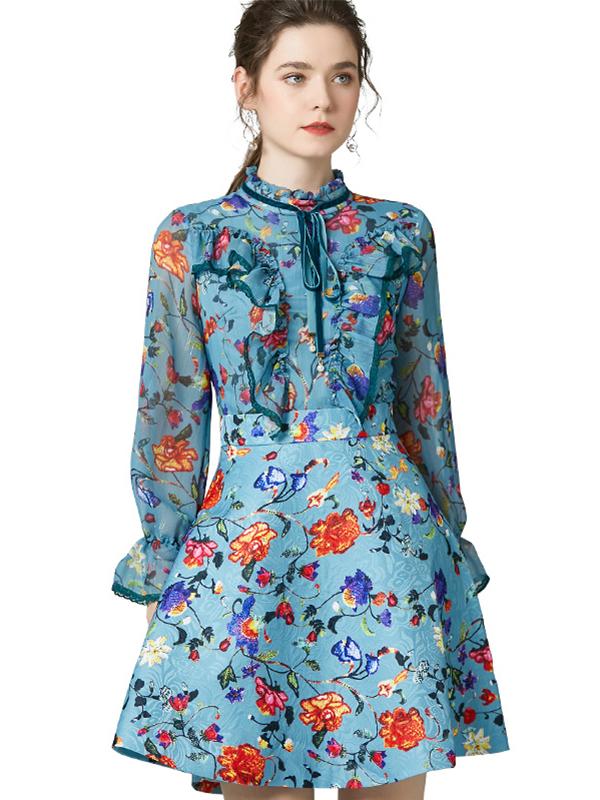 623020 欧货春装新款荷叶边印花连衣裙 系带立领喇叭袖高腰A字裙