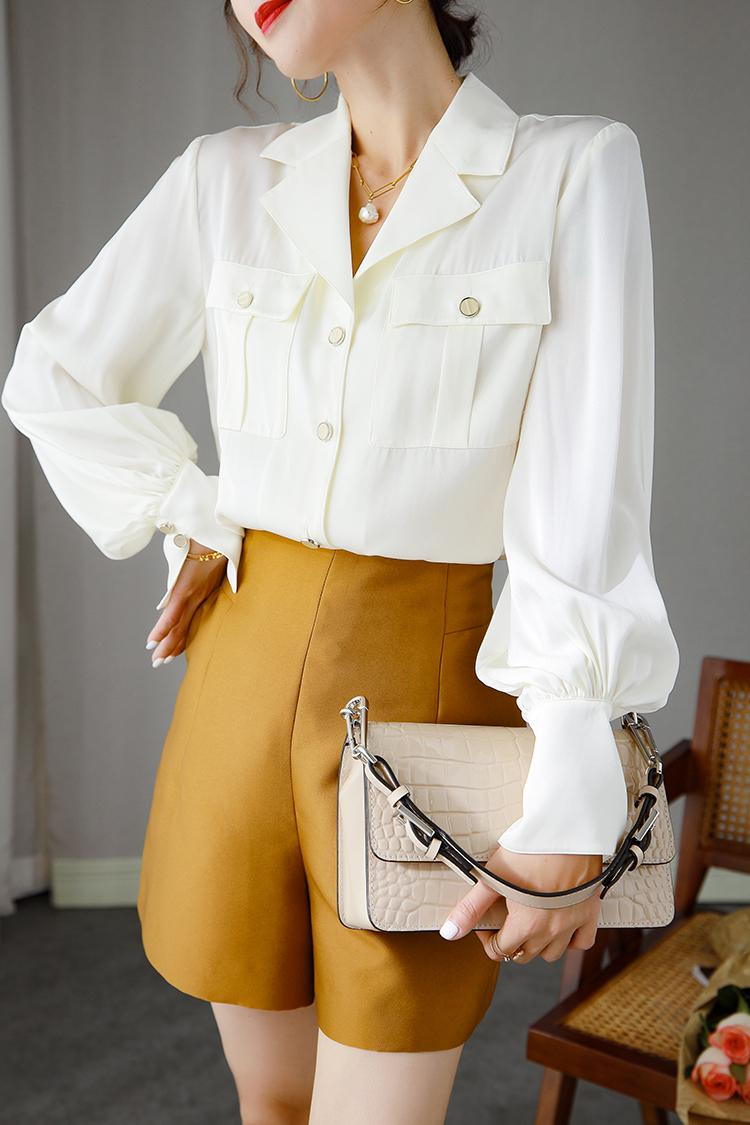 法式复古西装领真丝衬衫女 014081设计感双口袋纯色桑蚕丝上衣