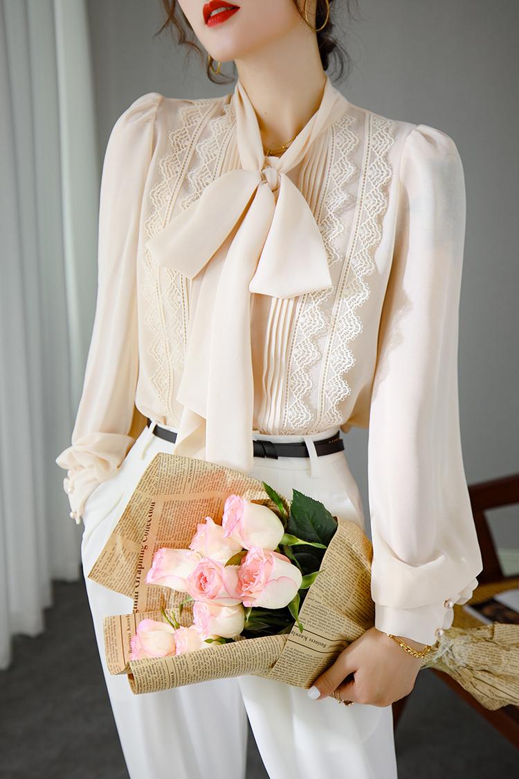 时尚设计感小众灯笼袖衬衫 014105系带蝴蝶结纯色宽松上衣女长袖