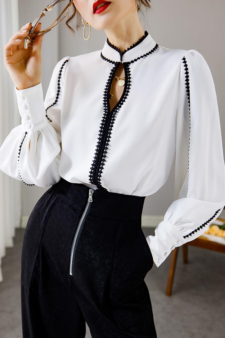 欧货通勤气质职业衬衫女 014108性感镂空立领撞色花边灯笼袖上衣
