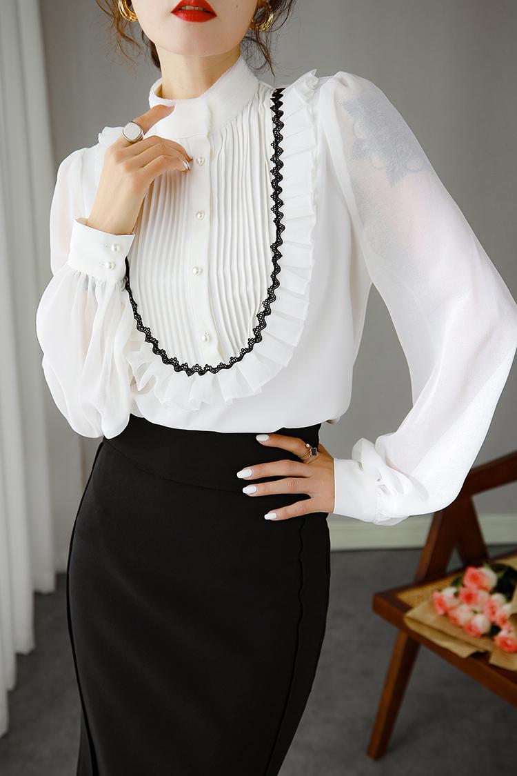 复古宫廷灯笼袖衬衫女新款 014113木耳边立领长袖设计感上衣秋冬