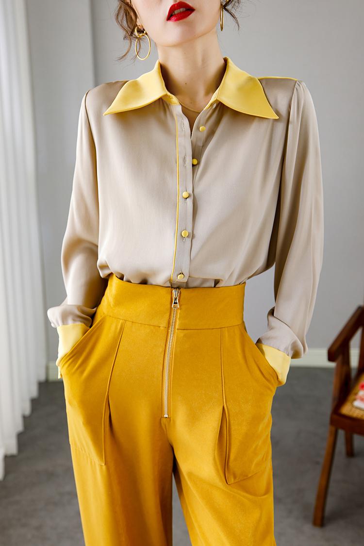欧货时尚重磅真丝衬衫女 014132法式桑蚕丝上衣撞色翻领长袖衬衣