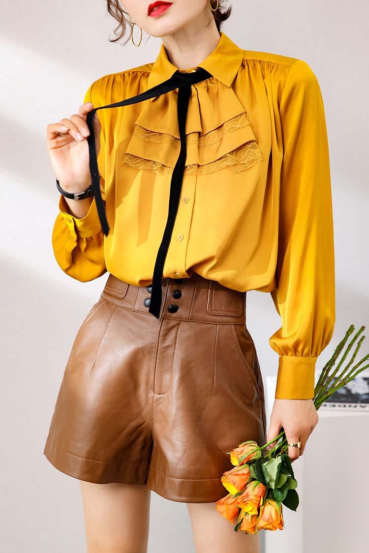 2020新款设计感小心机胸花欧货上衣 014135飘带翻领长袖真丝衬衫