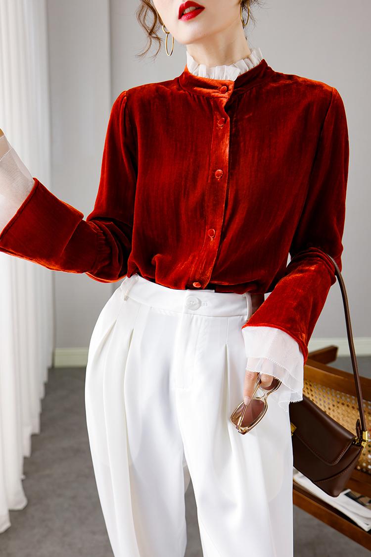 2020新款真丝绒衬衫女秋冬 014156设计感小众撞色立领喇叭袖上衣