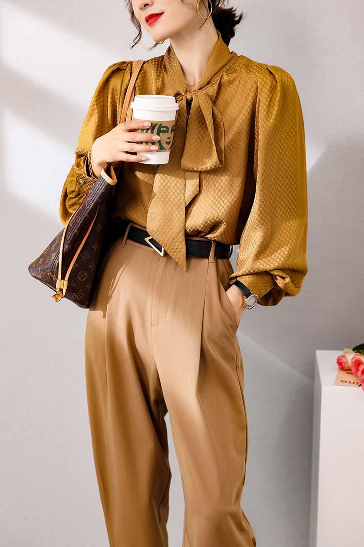 2020新款秋冬长袖真丝衬衫女 014162气质轻奢提花绑带灯笼袖上衣