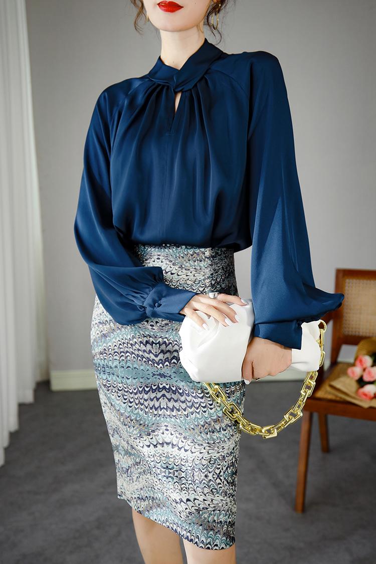 2020秋季新款重磅真丝衬衫女 034101立领灯笼袖设计感小众上衣