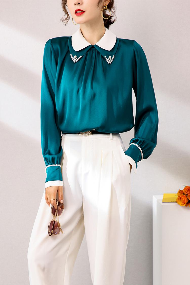 2020新款纯色宽松重磅真丝衬衫 034135钉珠尖领桑蚕丝灯笼袖上衣