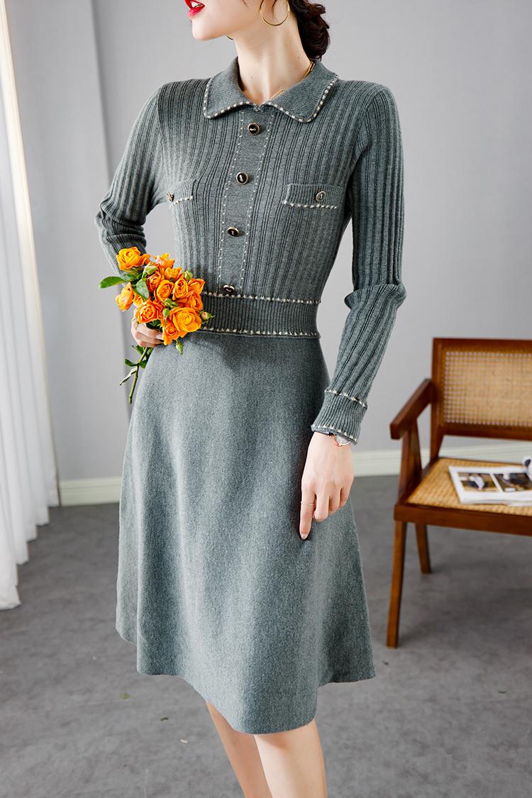 2020秋冬新款修身羊毛连衣裙 033013法式娃娃领纯色长袖针织裙子