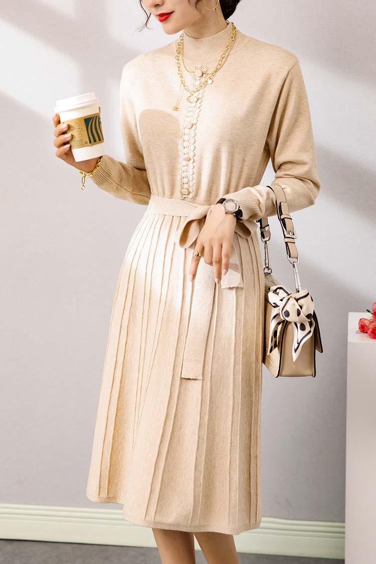 法式浪漫羊毛针织连衣裙 033016长袖半高领系带过膝修身中长裙子