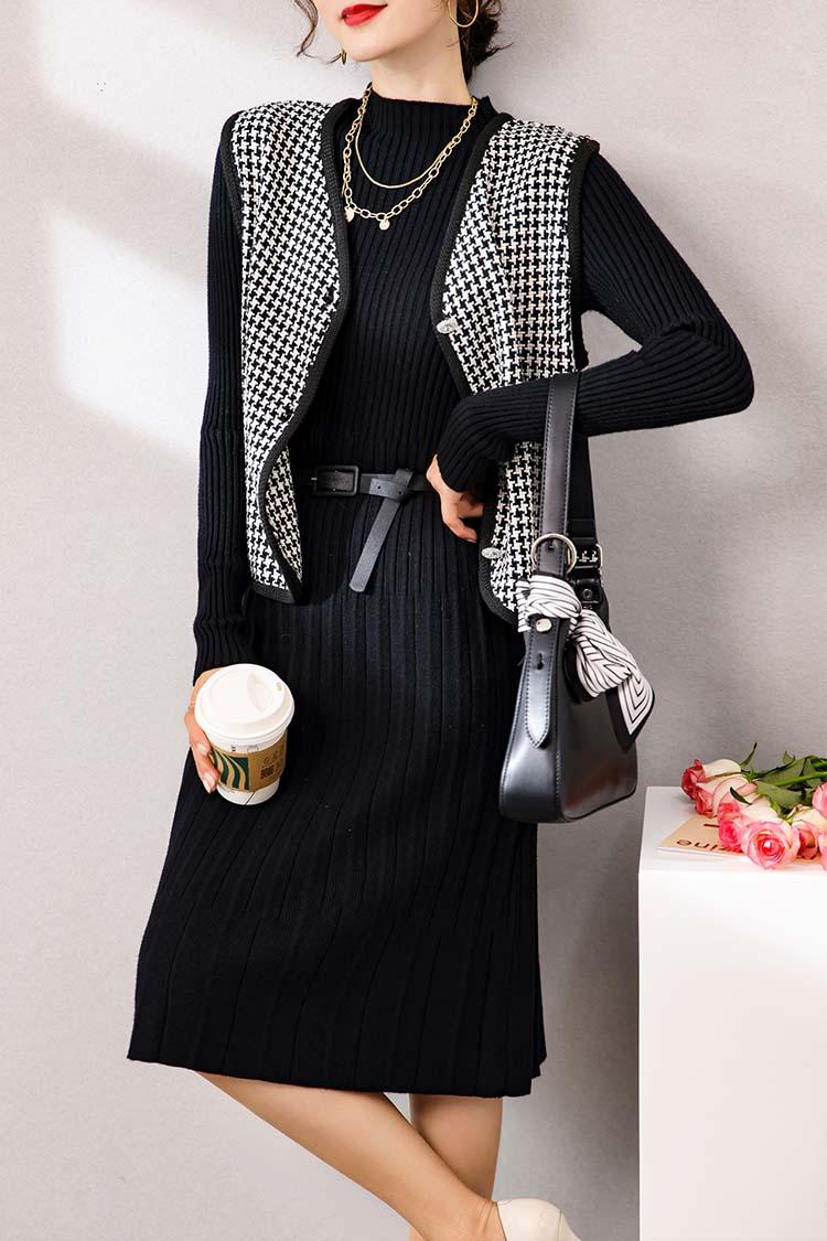 千鸟格羊毛马甲背心 033015秋冬新款时尚套装针织连衣裙两件套女