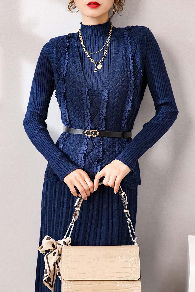 气质时尚套装女 033019针织百褶裙纯色马甲背心+羊毛连衣裙两件套