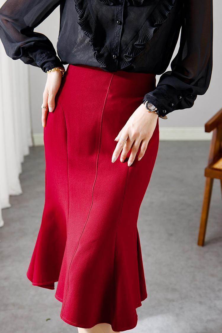 时尚通勤高腰包臀裙中长款 012013气质职业装纯色开叉鱼尾半身裙