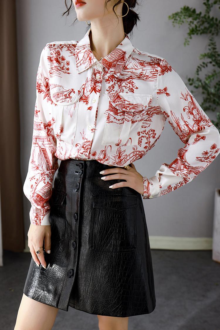 中国风青花瓷印花真丝衬衫女长袖 014001双口袋衬衣桑蚕丝上衣秋
