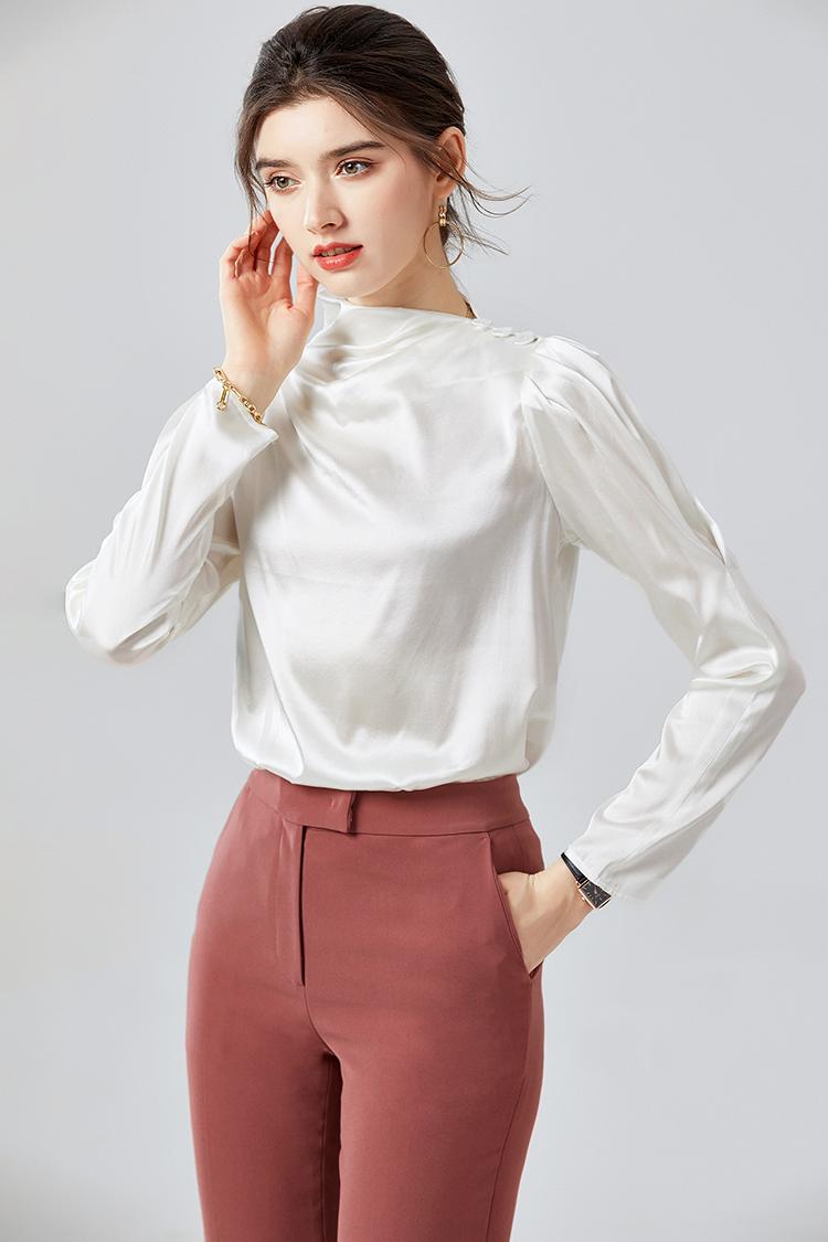 秋装新款羊腿袖真丝衬衫女 014089欧货小衫高领素绉缎长袖衬衣秋