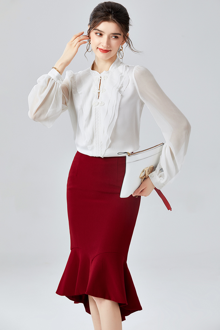 复古中式盘扣改良旗袍上衣 014090秋季新款荷叶边灯笼袖真丝衬衫