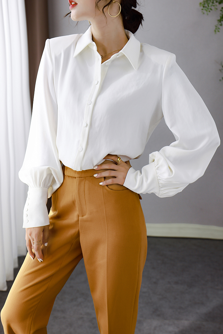 2020新款纯色职业装衬衫女秋冬 014095设计感翻领长袖灯笼袖上衣
