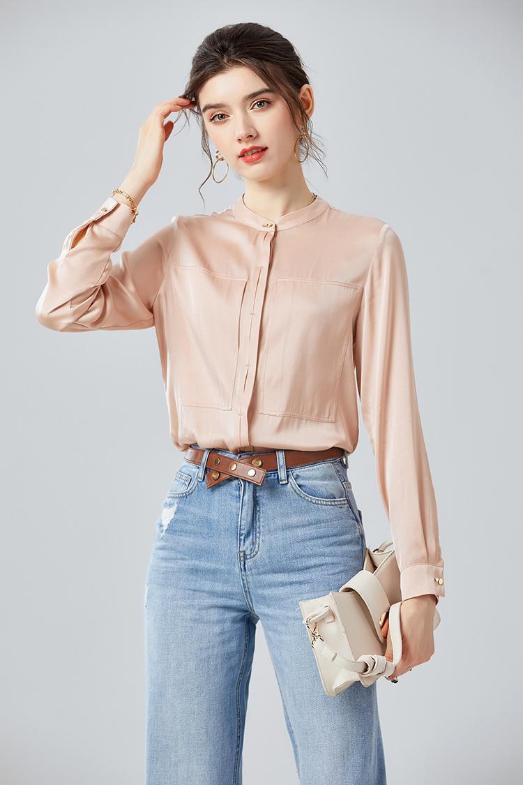 设计感双口袋真丝衬衫女长袖 034054欧货时尚立领宽松上衣秋衬衣