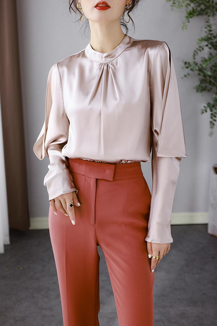 轻奢高端重磅真丝衬衫女 914070设计感露肩羊腿袖通勤桑蚕丝上衣