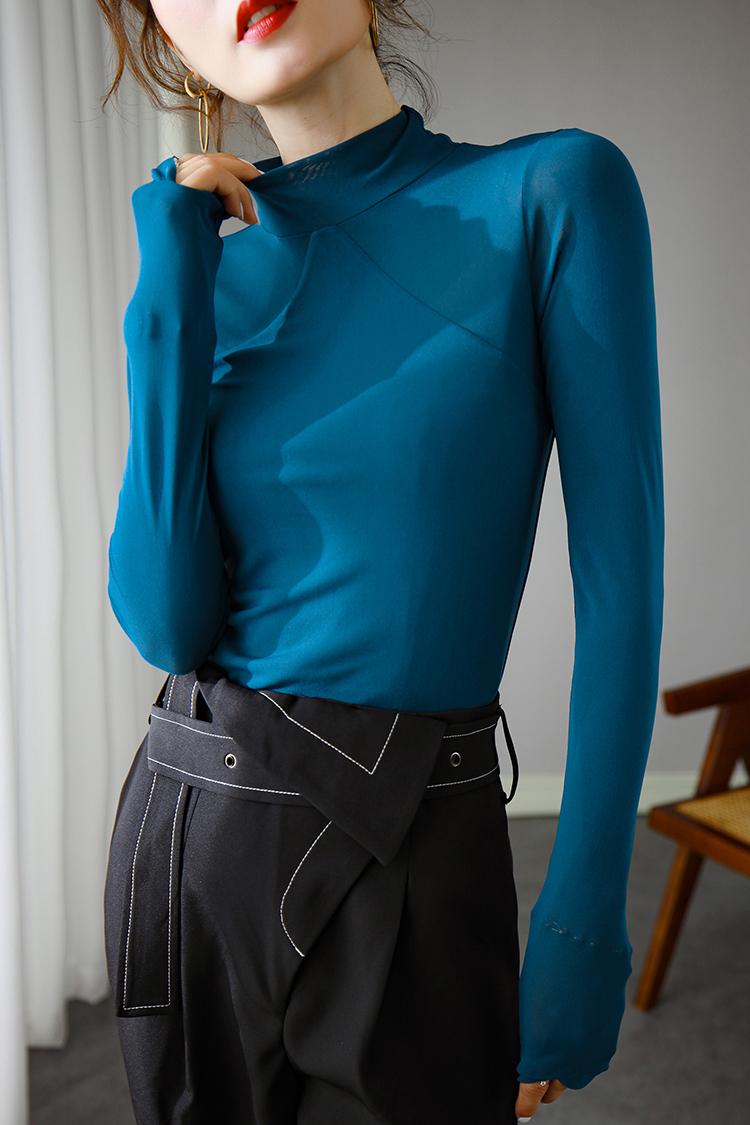 欧货高弹力打底衫女秋冬 034029纯色半高领长袖修身百搭紧身t恤女