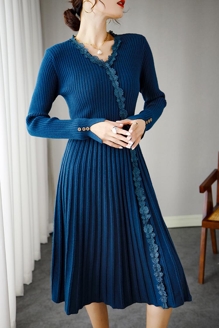 气质修身羊毛针织连衣裙 033001秋季新款V领长袖法式茶歇裙中长款