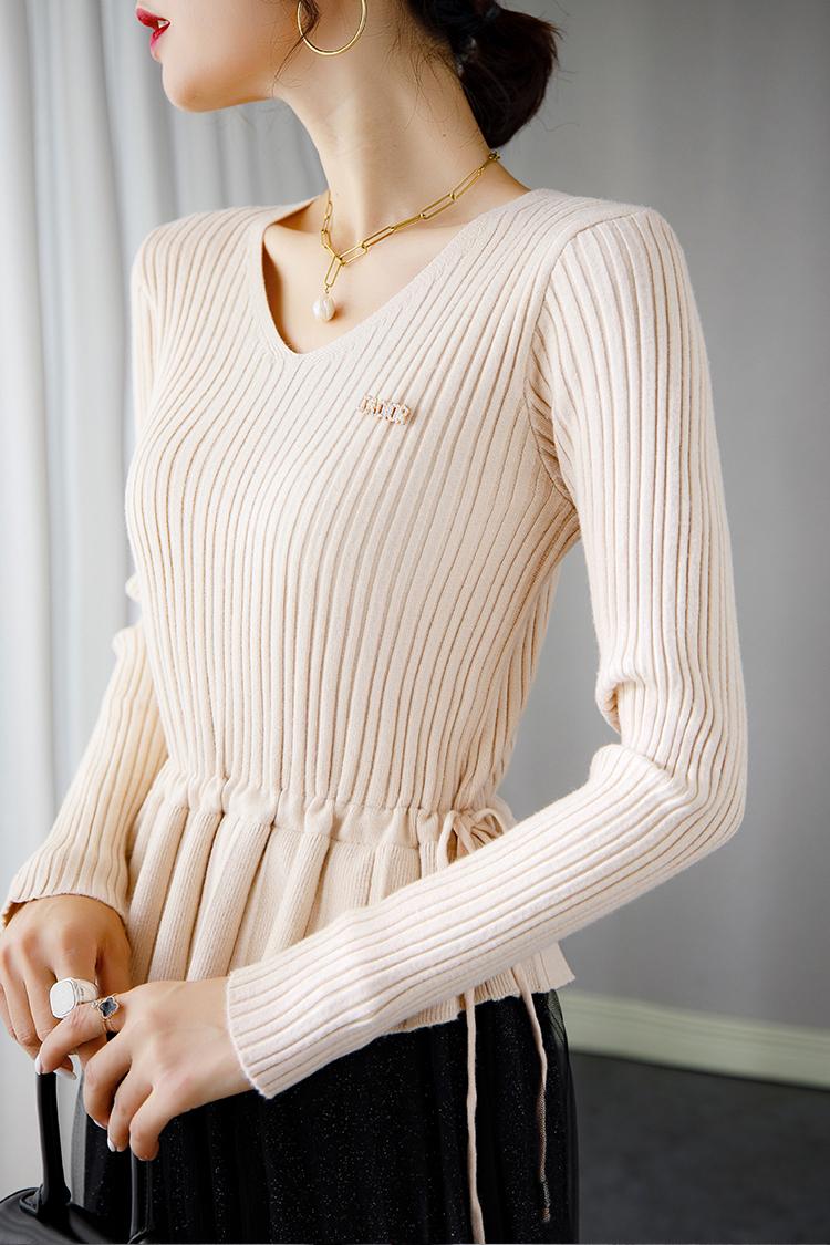 时髦假两件针织连衣裙 033003拼接网纱抽身收腰V领长袖羊毛打底裙