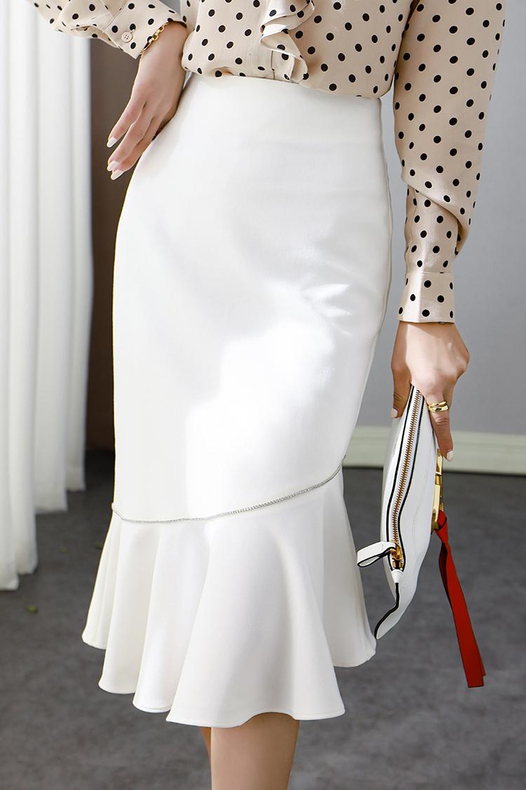 2020秋季新款鱼尾半身裙女 012010钉珠荷叶边纯色显瘦修身包臀裙