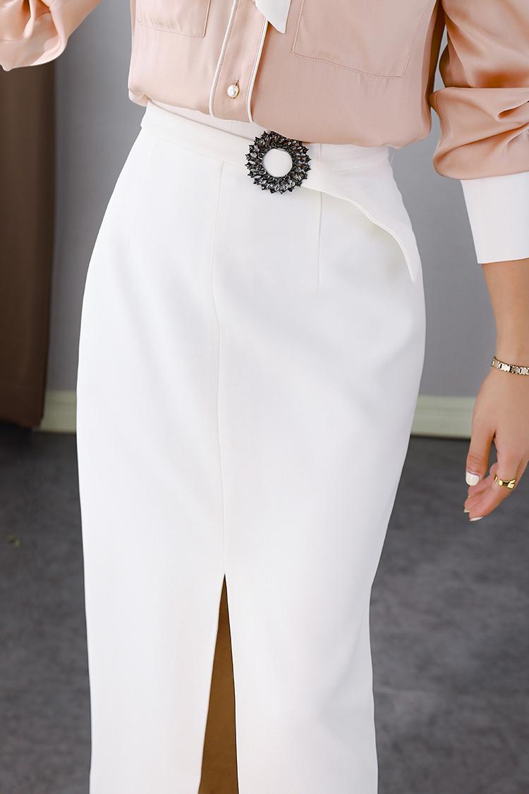 秋季新款开叉高腰修身半身裙 012011设计感钻扣腰带ol通勤包臀裙