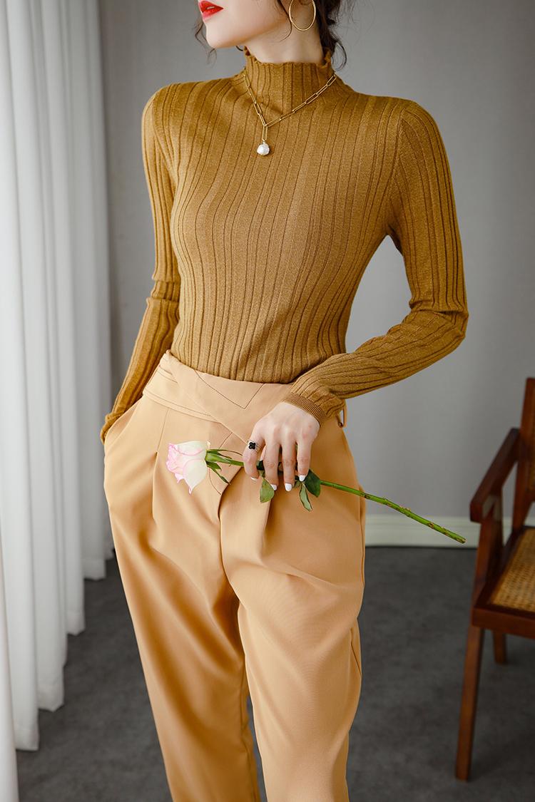 高领长袖羊毛衫女秋冬 037070秋装新款套头纯色弹力针织打底衫女