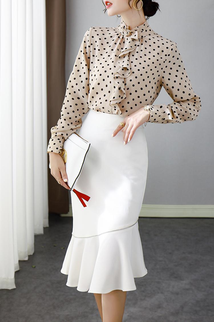 重磅真丝衬衫女长袖 034020设计感小众波点立领荷叶边上衣秋新款