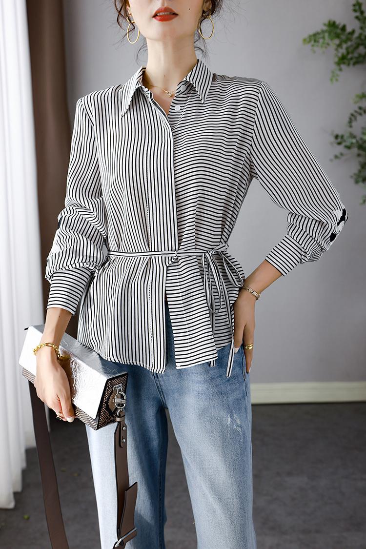 欧货通勤真丝衬衫女新款 034036翻领系带刺绣长袖条纹衬衣女上衣