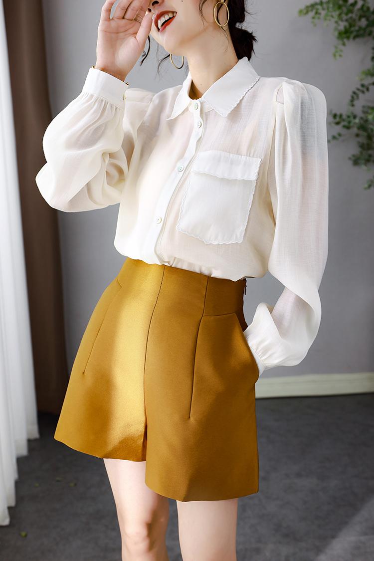 法式泡泡袖上衣女新款 034027设计感口袋翻领宽松白色衬衫女长袖