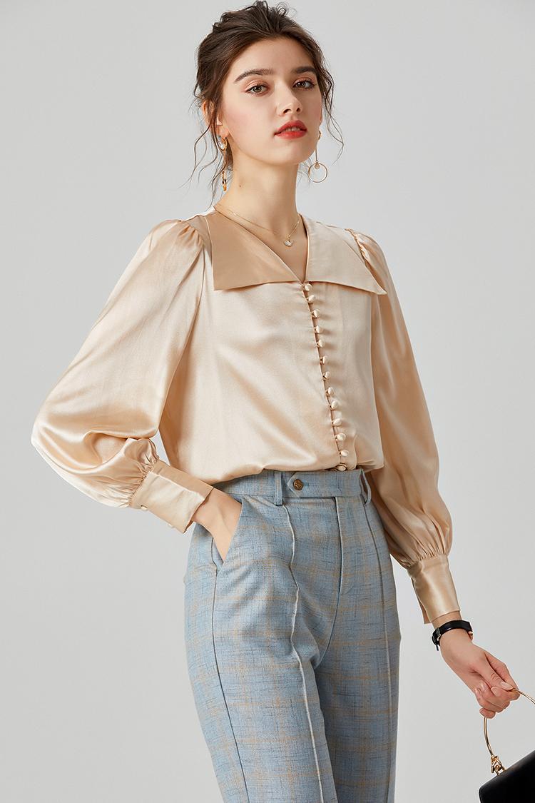 设计感小众重磅真丝衬衫女 924192法式轻熟泡泡袖方领桑蚕丝上衣