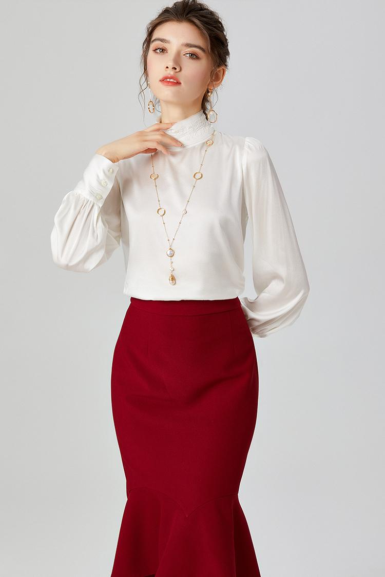 散口边立领刺绣真丝衬衫 014052欧货轻奢设计感后排扣桑蚕丝上衣