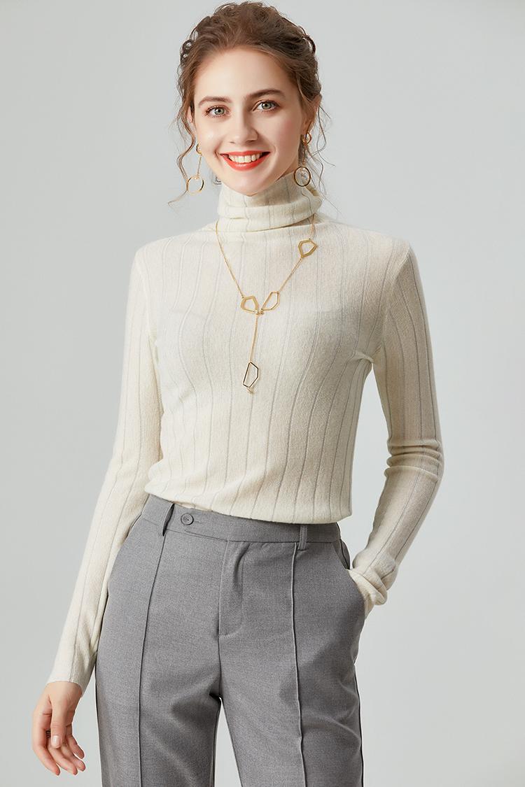 2020新款堆堆领羊毛衫女100纯羊毛 037012高领针织毛衣打底衫秋冬