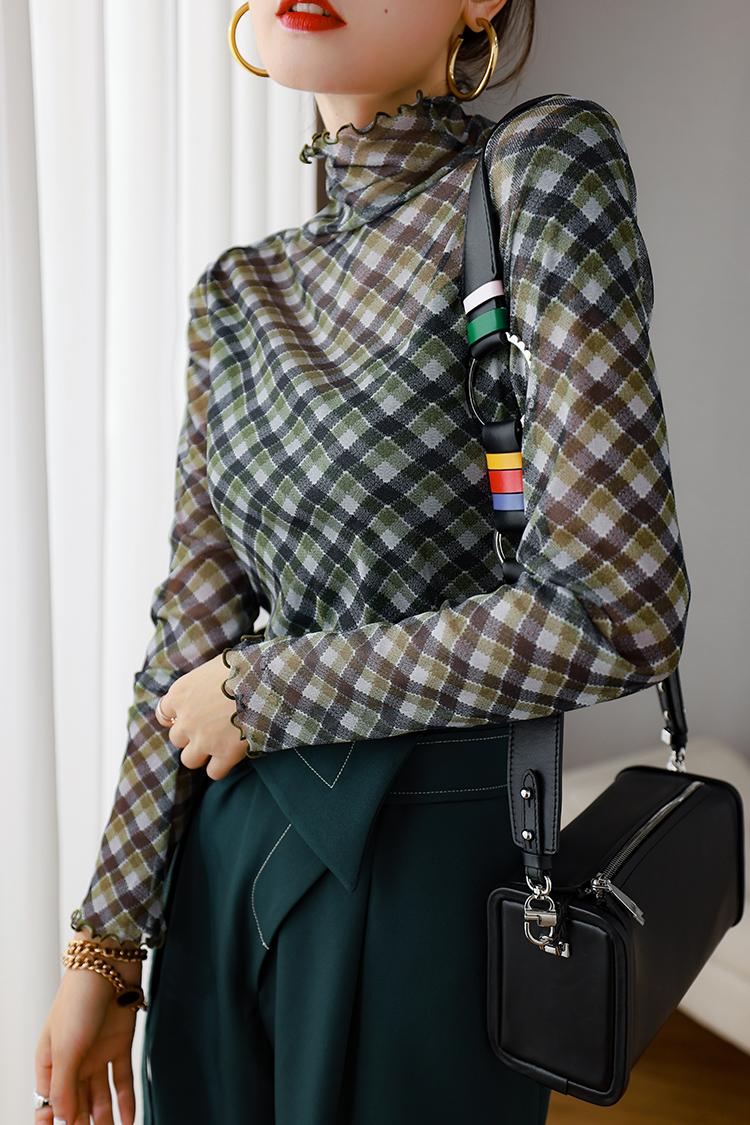 修身薄款网纱格纹打底衫女 034005复古木耳边高领长袖弹力针织衫