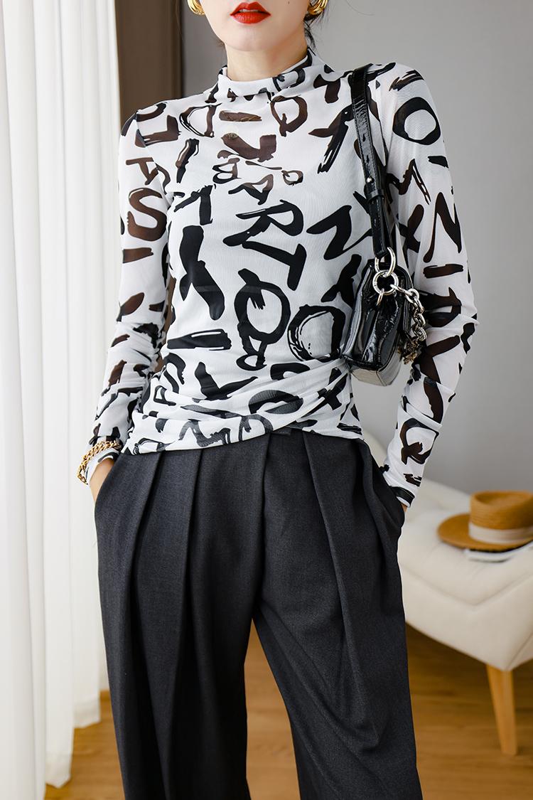 2020秋装新款欧货字母印花打底衫 034006弹力薄款防晒衫长袖t恤女