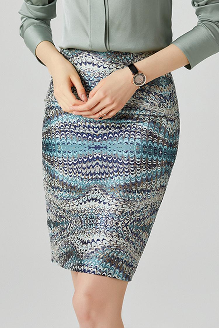 时尚通勤OL修身显瘦包臀裙 012006水波纹提花渐变色高腰半身裙秋