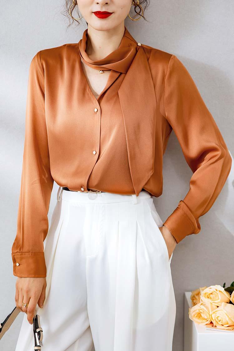 法式简约重磅真丝衬衣女 034153设计感飘带V领桑蚕丝衬衫长袖上衣