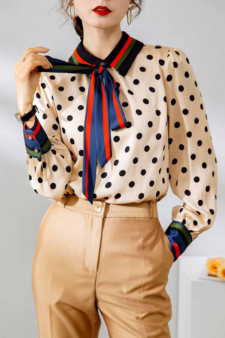 欧美洋气桑蚕丝衬衫2021春装新款 034154波点蝴蝶结织带真丝上衣