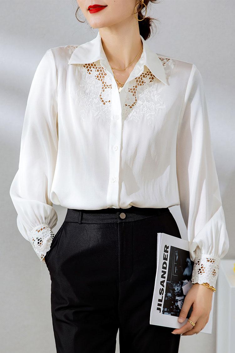 时尚镂空刺绣真丝衬衫长袖 034157翻领桑蚕丝灯笼袖上衣2021新款