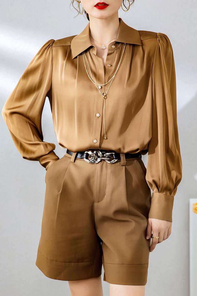 轻熟风灯笼袖真丝衬衫女2021新款 034158净色翻领缎面桑蚕丝衬衣