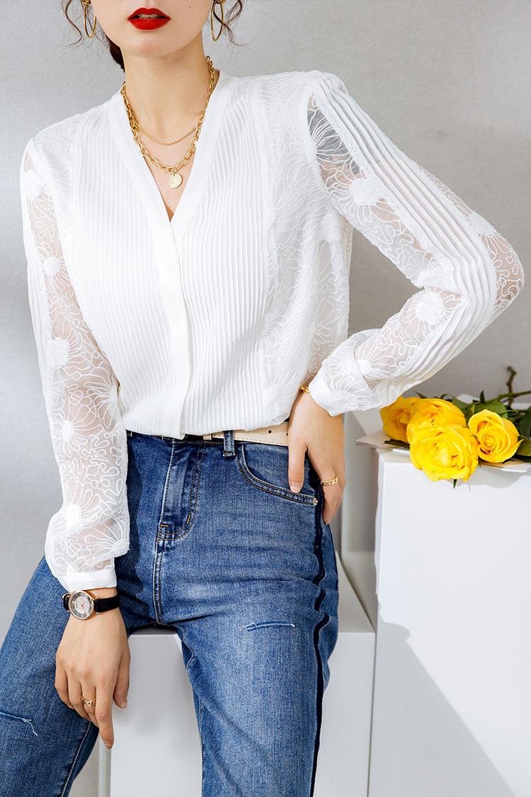 重工刺绣真丝衬衫女2021春季新款 034159打条拼接长袖桑蚕丝衬衣