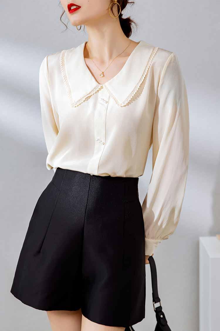 法式浪漫娃娃领真丝衬衫女034161气质纯色长袖桑蚕丝上衣2021新款