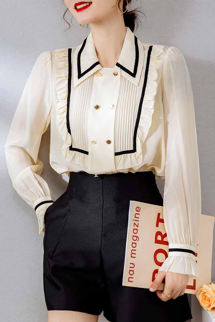 法式双排扣真丝衬衫2021新款 034141欧货翻领长袖木耳边复古上衣