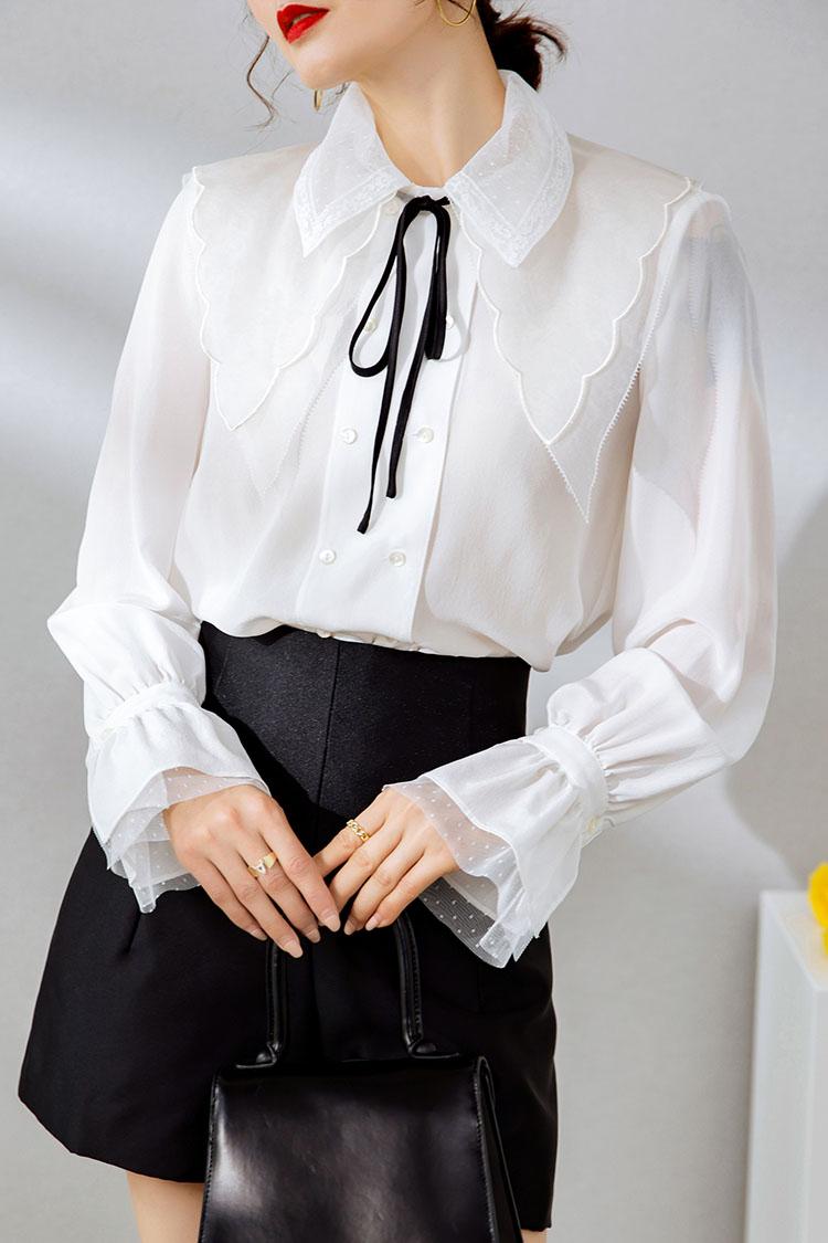 设计感小众真丝衬衫女长袖 014165喇叭袖翻领桑蚕丝上衣2021新款