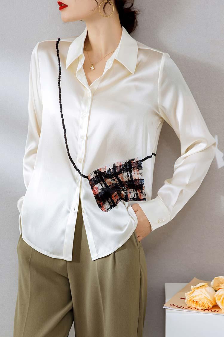 重磅真丝衬衣2021新款女装 014182翻领长袖印花桑蚕丝衬衫女上衣