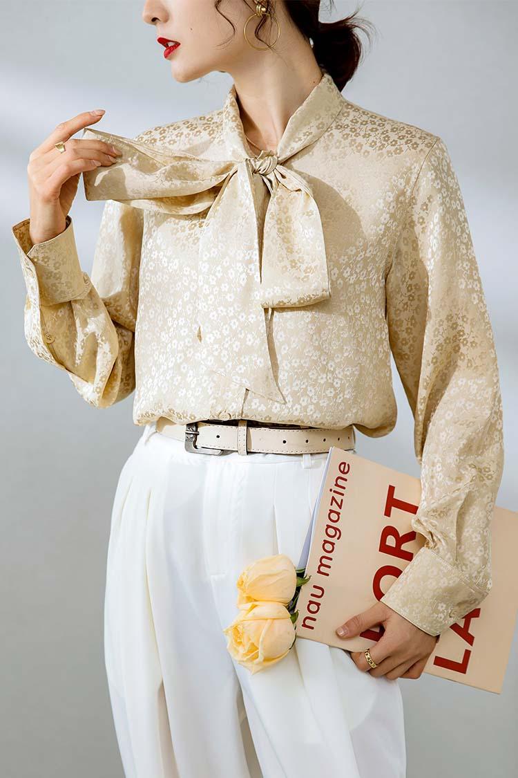 欧货2021春长袖真丝衬衫女新款 034149飘带蝴蝶结提花桑蚕丝衬衣