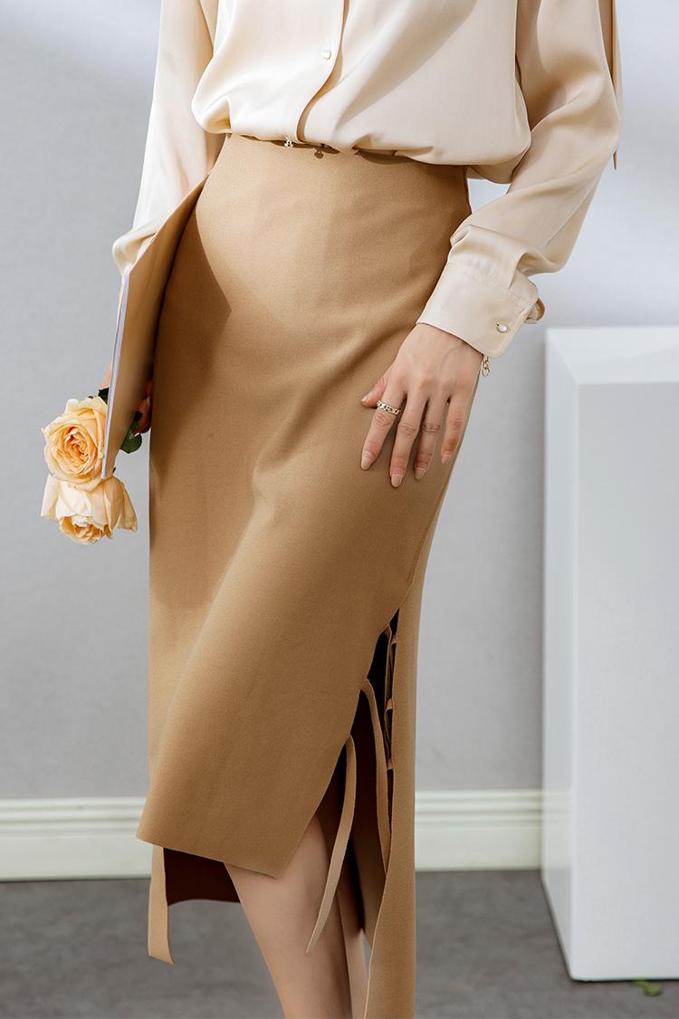 2021春季新款高腰修身半身裙 012015欧货气质流苏开叉弹力包臀裙