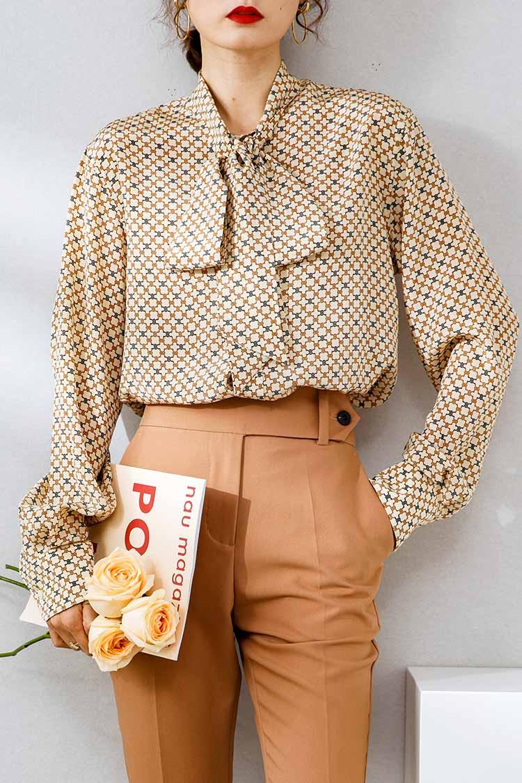 法式优雅复古印花真丝衬衫 034148欧货飘带蝴蝶结桑蚕丝长袖上衣