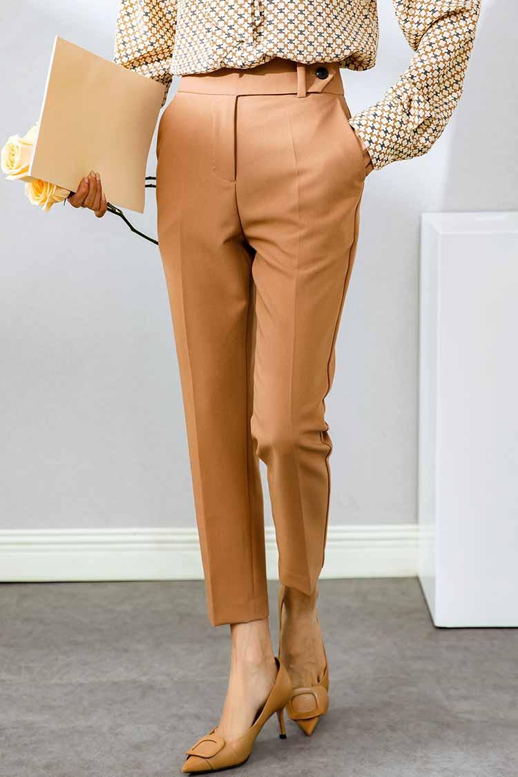 时尚显瘦高腰休闲裤女新款 031007通勤职业九分工装裤修身西装裤